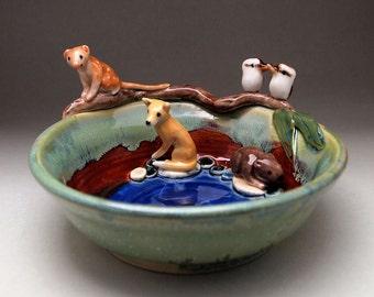 Ceramic Australian animal trinket dish / quoll dingo platypus wombat & kookaburra / hand crafted Anita Reay ceramic diorama dish / keepsake