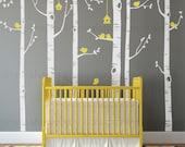 New Year's Sale - Birch Tree Birds Wall Sticker Set, Baby Nursery Wall Decals, Nursery Wall Stickers, Tree with Birds Decal, Girls Nurser...