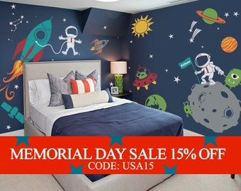 Memorial Day Sale - Outer Space Wall Decal, Stars, Planets, Astronaut, Rocket Ship - Kids Wall Decals