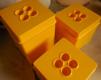 Vintage Dansk Yellow Mod Canisters