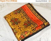 Shop Closing Sale Vintage Scarf Orange Gold Fleur-de-lis Design