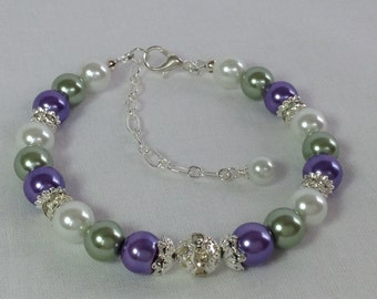 Green Purple White Pearls Bridesmaid Bracelet