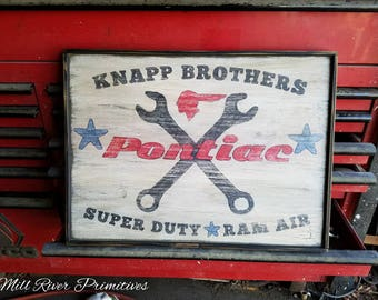 Personalized Early Antique Primitive Wooden Pontiac GARAGE Sign Father's Day