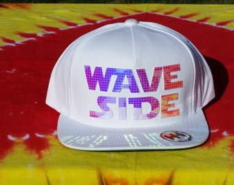 Page Side, Wave Side Flat Brim Hat in White with Super Reflective Writing and Snap Back Fit