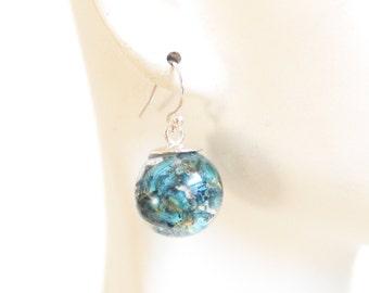 Real Dried Flower Resin Sphere Earrings- Resin Earrings- Resin jewelry- Resin Flower earrings-Blue Flower Sphere Earrings- Mother's Day Gift