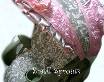 Gorgeous Katie~Grey Damask/Light Pink Satin 3D Roses Stroller Cover