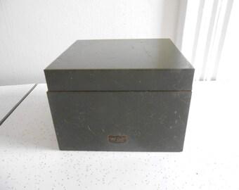 Vintage Metal File Box Drab Funky Green File Box Shabby Chic Organizational Metal Box 50's Era