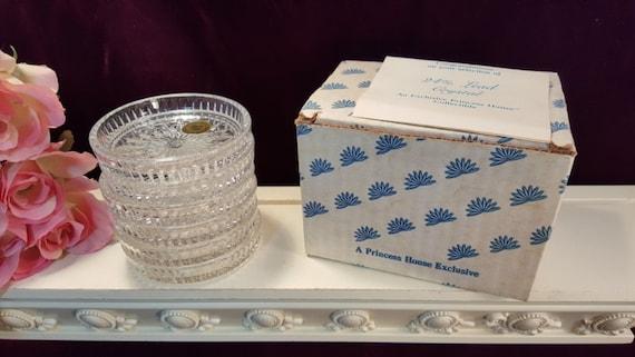 Princess House Crystal Highlights Coaster Set of Six Original Box, Vintage Elegant Glass Barware Dinnerware, Mid Century Glass, Lead Crystal