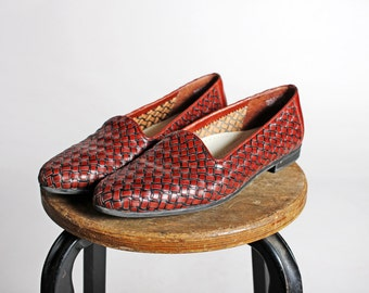Vintage Woven Leather Flats- Brown Loafers Flat Pointed Slip On Casual Every Day Women's Shoe Summer- Size 9 or 9 1/2