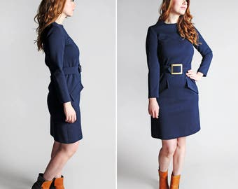 Vintage Studious Day Dress - Navy Blue Double Knit Long Sleeves Fall Casual Knee Length Belted Retro Day Dress 60's A line Wool Size Medium