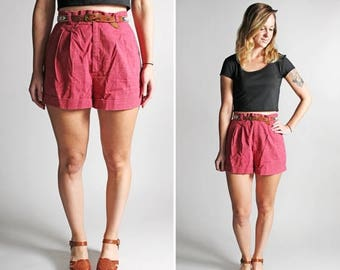 SALE Vintage High Waisted Rose Pink Shorts - Twill Cotton Summer Shorties Fitted Waist Cuffed Pleated Casual - Size Medium or slim Large