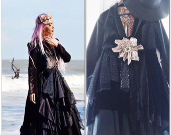 Stevie Nicks Black Velvet gypsy duster, Anthropologie black fall boho jackets coats, Spell Gypsy bohemian fall clothing True rebel clothing
