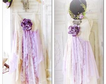 L XL lilac Bridesmaid Lace Dress, Boho Dress, Shabby Dress, Gypsy Soul Dress, Bohemian Style Lace Dress, Easter Dress, True Rebel Clothing