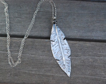 """Sterling Silver FEATHER pendant Necklace Long 30"""" sterling chain hand cut artisan Jewelry"""