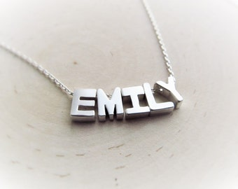 Silver Name Necklace, Letter Necklace, Personalized Jewelry for Women, Letter Name, Personalized Name Jewelry, Customized Gift for Her