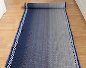 Cotton Rag Rug Runner / Blue Ombre Black and White Rug 2 x 6 Kitchen Rug