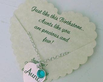 Gift For Aunt,  Aunt Gift, Aunt Birthday, Aunt bracelet, Aunt NecklaceWith Birthstone, Personalized Aunt Gift
