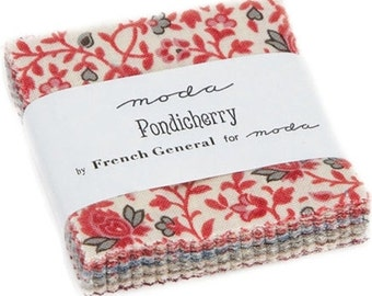 "Pondicherry Mini 2.5"" Charm Pack by French General for Moda Fabrics 13780MC 42 2.5"" Fabric Squares"