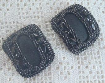 Vintage Black Cut Steel Rectangular Shoe Buckles