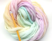 Self striping pastel rainbow yarn handspun thick and thin in merino wool - 58 yards, 3.15 ounces/ 90 grams