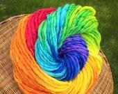 Silk and merino handspun rainbow yarn, bulky/chunky - 60 yards, 2.1 ounces and 60 grams