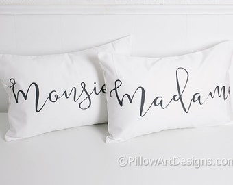 Madame Monsieur Mr Mrs His Hers French Lumbar Pillow Covers 12 X 18 Black White Cotton Made in Canada