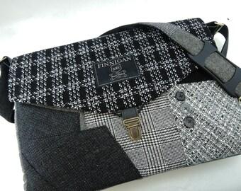 """Womens Messenger Bag  messenger bag mens 15"""" laptop Messenger Bag Messenger bag Laptop Sleeve  Recycled Suit Coat Upcycled"""