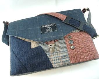 Blue Womens Messenger Bag mens Messenger bag satchel canvas leather wool laptop Messenger bag Laptop  upcycled bag, Readt to Ship