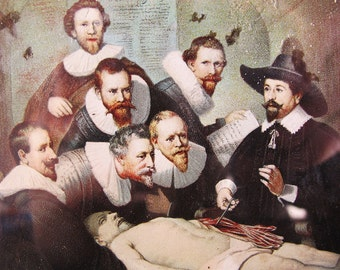 Anatomy Lesson Rembrandt Chromolithograph 1890s Macabre Post Mortem