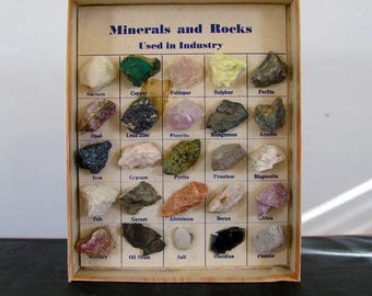 Specimen Minerals and Rocks Used in Industry 1959 Midcentury MCM