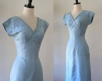 Vintage 1950s Dress 1950s Cocktail Dress Bridesmaid Dress Blue Linen Dress Baby Blue Dress with Rhinestones 50s Party Dress Fitted Wiggle SM