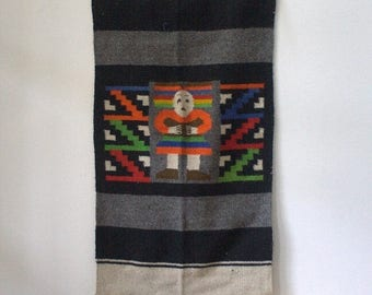 Vintage Indian Tapestry 1970s Hippie Tapestry Vintage Wall Hanging Wool