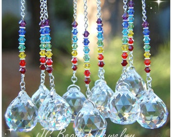 Swarovski Crystal Rainbow Suncatcher, Rearview Mirror Car Charm, Chakra Hanging Prism Decoration, Window Ornament