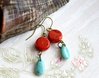 Coral earrings Red and blue earrings Red coral jewelry Read and turquoise earrings Bohemian jewelry Boho earrings Gypsy jewelry gift for her