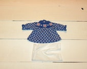 Blue and White Flower Patterned Dress and White Leggings - 12 inch doll clothes