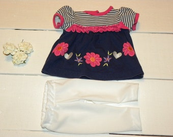 Navy and Striped Knit Dress and White Leggings- 16 - 18 inch doll clothes