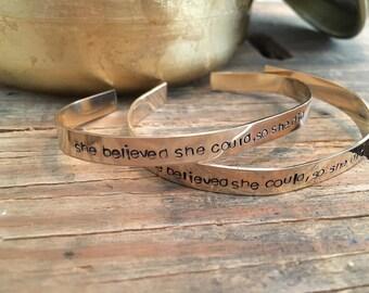 Gold fill personalized cuff bracelet