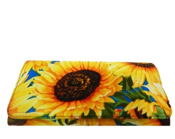 "USA Handmade BI-FOLD  Woman Wallet With ""Sun Flowers""  Pattern , Cotton  Fabric, New, Rare"