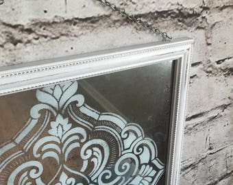 Mercury glass, framed mercury glass, Shabby chic art, Mercury glass hanging,mercury glass mirror,Faux mercury glass,repurposed,one of a kind
