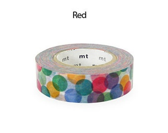 Discontinued Japanese Washi Masking Tape SINGLE / Colorful Spots Red for journaling, packaging, scrapbooking (15m Long, 50% more)