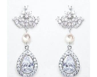 Silver CZ Bridal Earrings Wedding Cubic Zirconia  Tear Drops Pearl Bridal Jewelry Rhodium plated Crystal Wedding Earrings