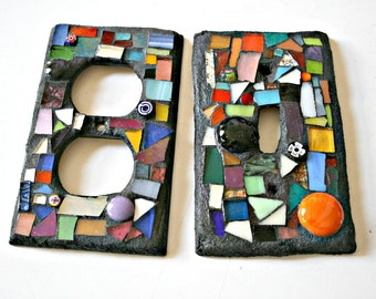 Mosaic Switch Plate and Outlet Cover Set, Stained Glass, Mirror, Multicolored, Scrap Glass, For The Home, Small Art, Housewarming, Mosaics