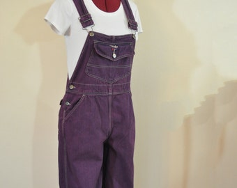 Purple Small Bib OVERALL Capri Pants - Red Violet Dyed Upcycled Walls Denim Overall - Adult Womens Size Small (32 w x 19 L)