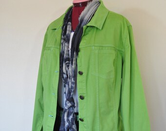 """Green XL Cotton JACKET - Lime Apple Green Dyed Upcycled CJ Banks Cotton Shirt Blazer Jacket - Adult Womens Size Extra Large (46"""" chest)"""