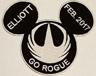 Star Wars Inspired Mousehead Rogue One Applique, perfect for any Star Wars fan or Disney visit. Personization available.