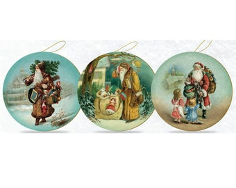 "German ""Antique Santa"" Paper Mache Candy Containers Set of Three"