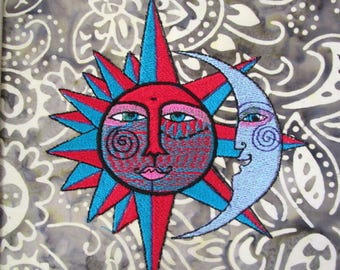 Golden Sun and Silver Moon Embroidered Quilt Block