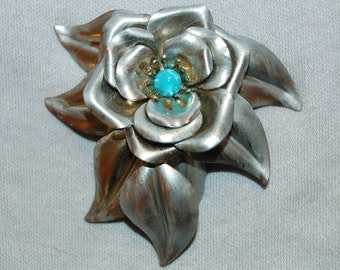 Vintage / Metal / Dress Clip / Large / Flower / Silver / Turquoise / old / jewelry / jewellery