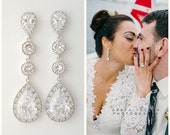 Bridal Earrings Crystal Long Wedding Earrings Wedding Jewelry Cubic Zirconia Large Teardrops Bridal Drop Earrings Bridal Jewelry, Eyra