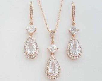 Rose Gold Bridal Set, Bridesmaid Jewelry Set, Rose Gold Crystal Earring Pendant Set, Rose Gold Wedding Jewelry Set, Lena